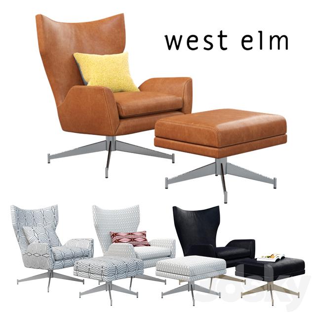 West Elm Hemming Leather Swivel Armchair