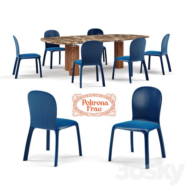 Amelie Poltrona Frau.3d Models Table Chair Poltrona Frau Chair Amelie And