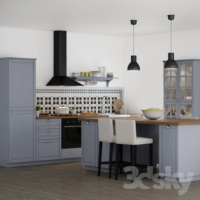 3d models kitchen kitchen ikea bodbyn. Black Bedroom Furniture Sets. Home Design Ideas