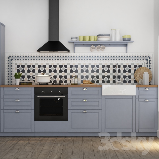 3d models kitchen kitchen ikea bodbyn for Ikea cucina 3d