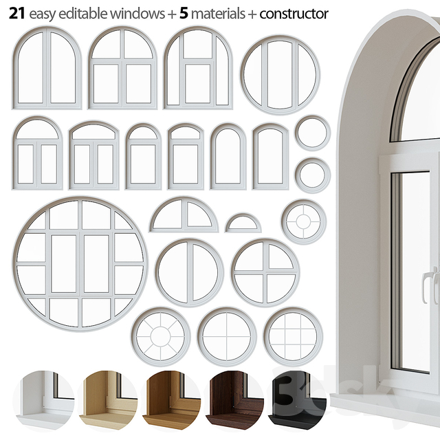 Set of round and arched windows