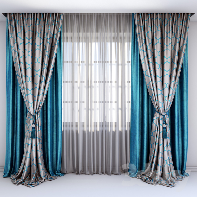 3d models curtain curtains with a pick up brush in turquoise colors. Black Bedroom Furniture Sets. Home Design Ideas