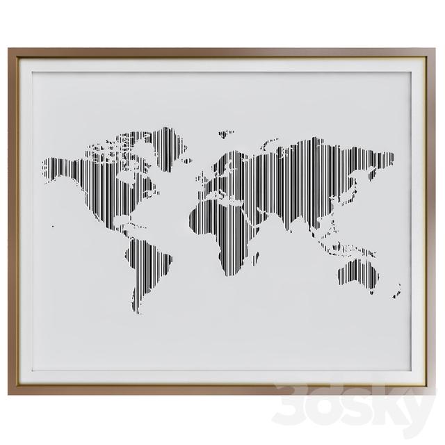 3d models: Frame - World map