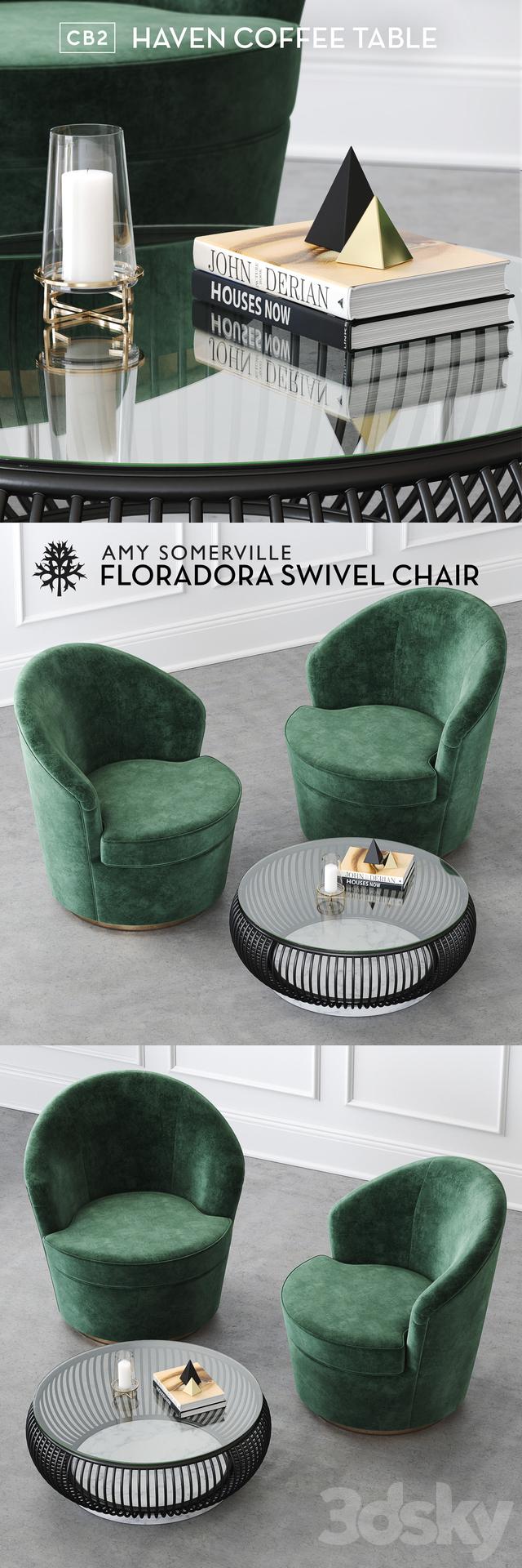 D Models Arm Chair Floradora Swivel Chair - Cb2 haven coffee table
