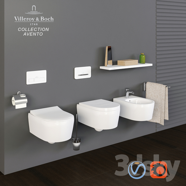 3d models toilet and bidet villeroy boch collection avento toilet bowl bidet. Black Bedroom Furniture Sets. Home Design Ideas
