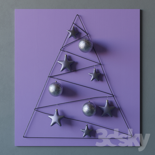 3d models: Other decorative objects - Decorative wall Christmas tree ...