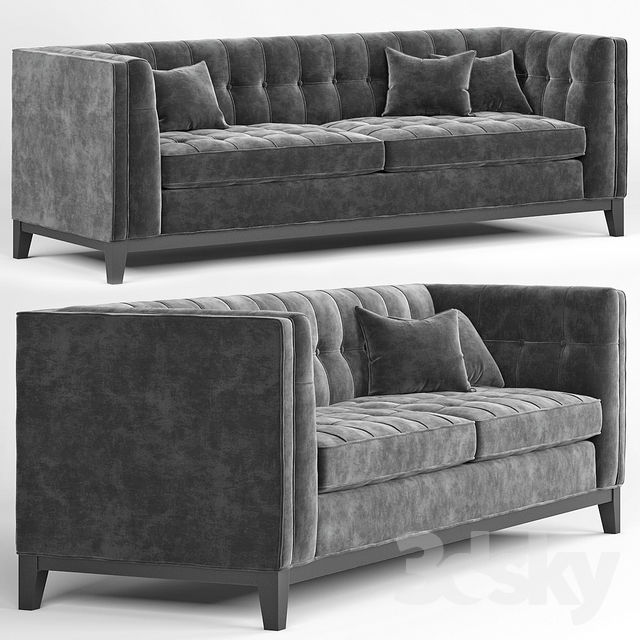 Eichholtz Aldgate Modern Classic Black Velvet Modular Sofa