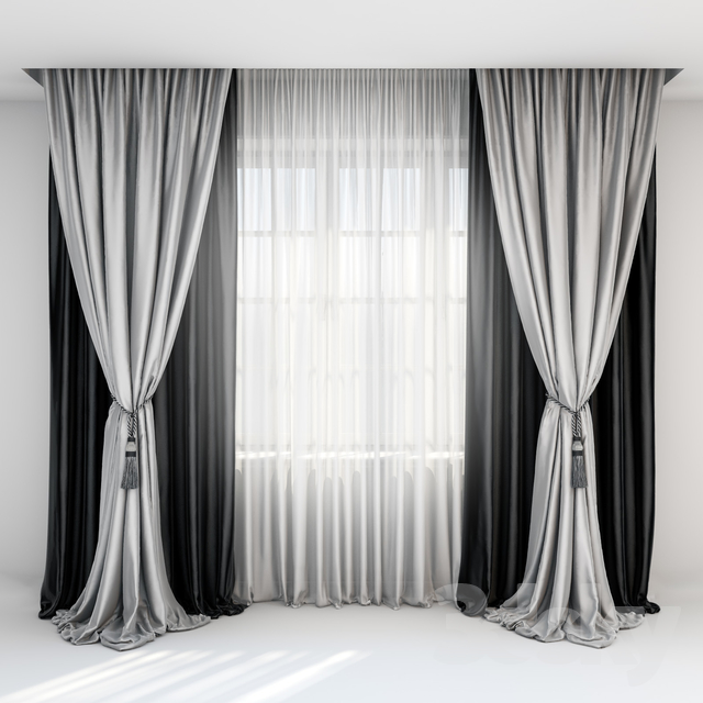3d Models Curtain Black Satin Curtains With Pick Up Brush Gray