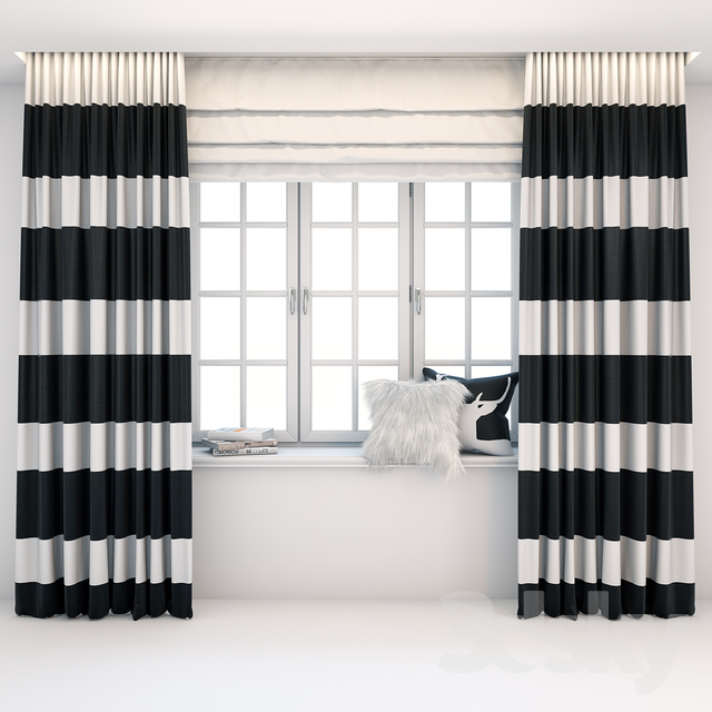 Straight black and white striped curtains in the floor with a Roman curtain, window, books and pillows on the windowsill.