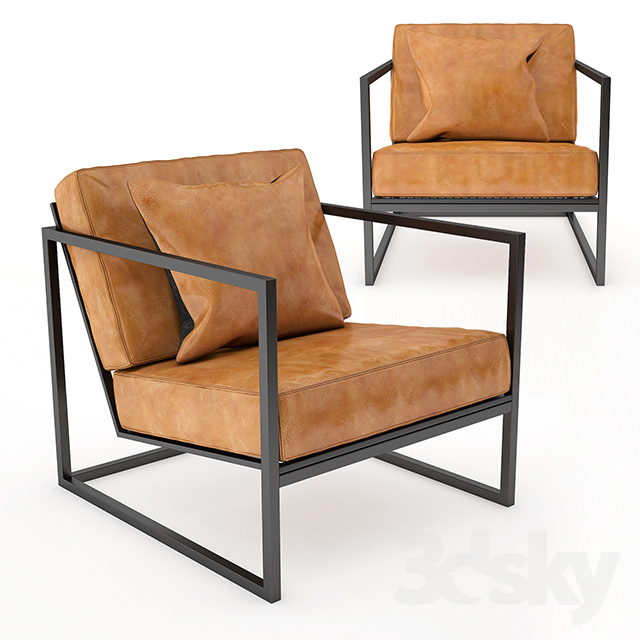 Gentil Black Metal Frame And Tan Leather Armchair