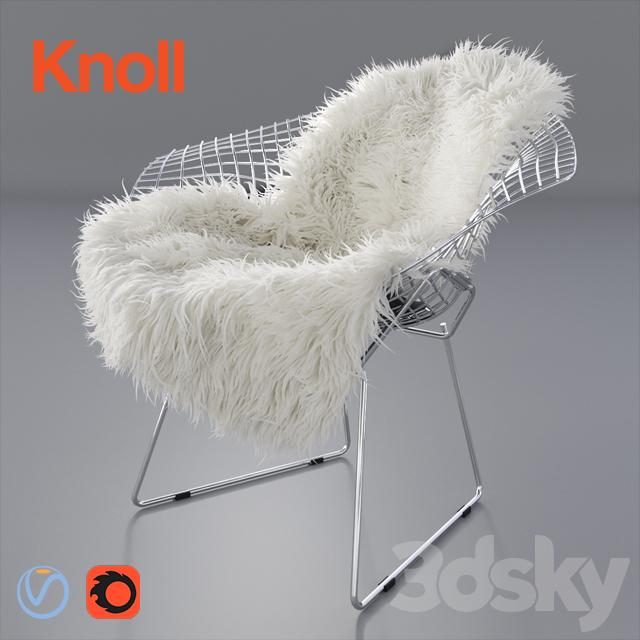 Sheepskin on Bertoia Diamond chair by Knoll