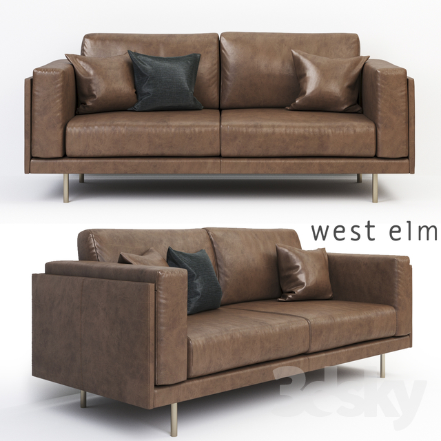 west elm leather sofa 3d models: Sofa   West Elm Dempsey Leather Sofa west elm leather sofa