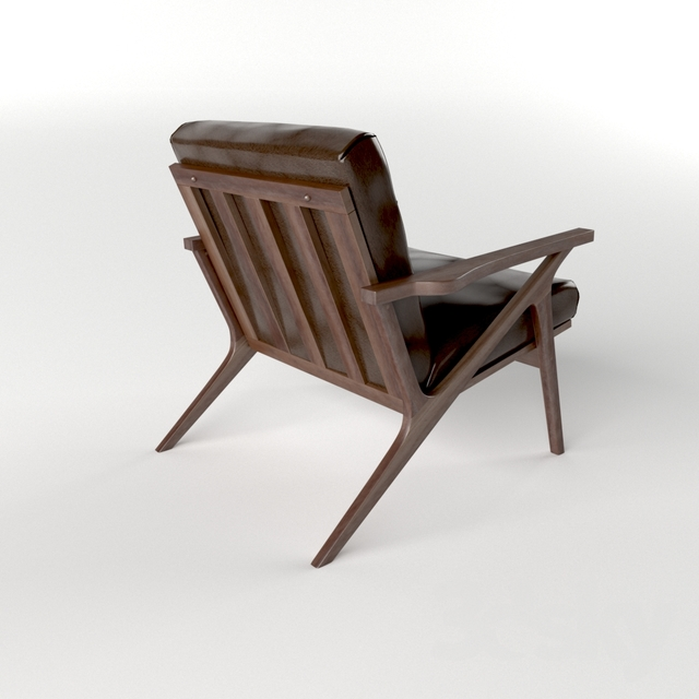 3d Models: Arm Chair   Cavett Leather Wood Frame Chair