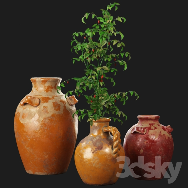 3d Models Vase Pottery Barn Sicily Terra Cotta Vases
