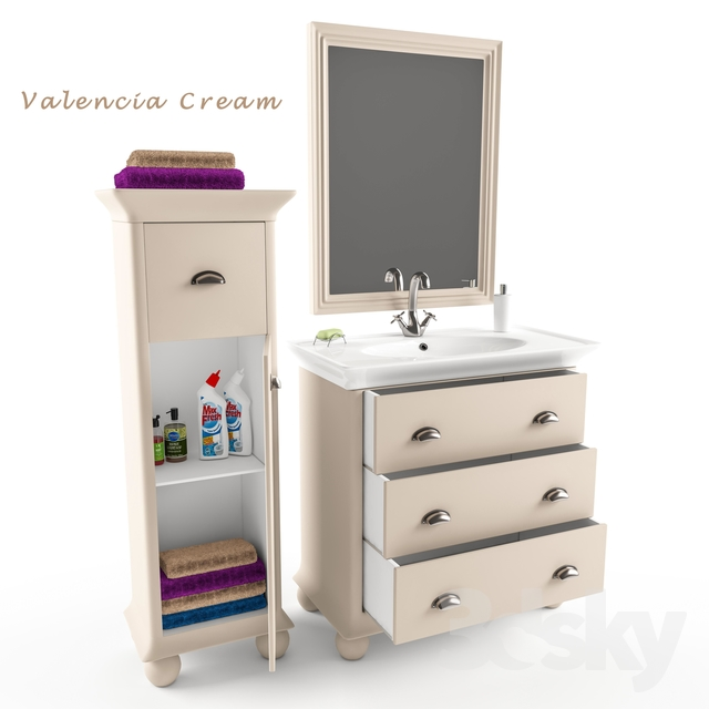 3d models bathroom furniture bath set valencia cream for Cream bathroom set