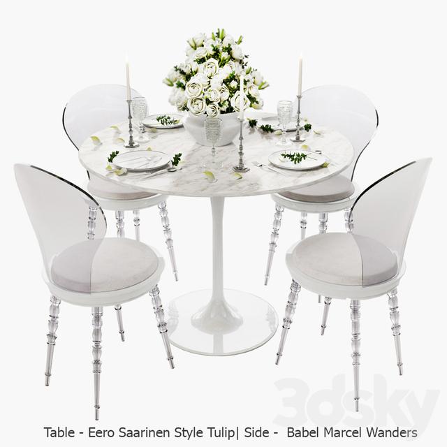 White Set / Babel Chair By Marcel Wanders, Table Eero Saarinen Style Tulip,  Serving