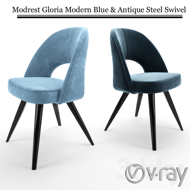 3d Models: Chair   Modrest Gloria Modern Blue U0026 Antique Steel Swivel