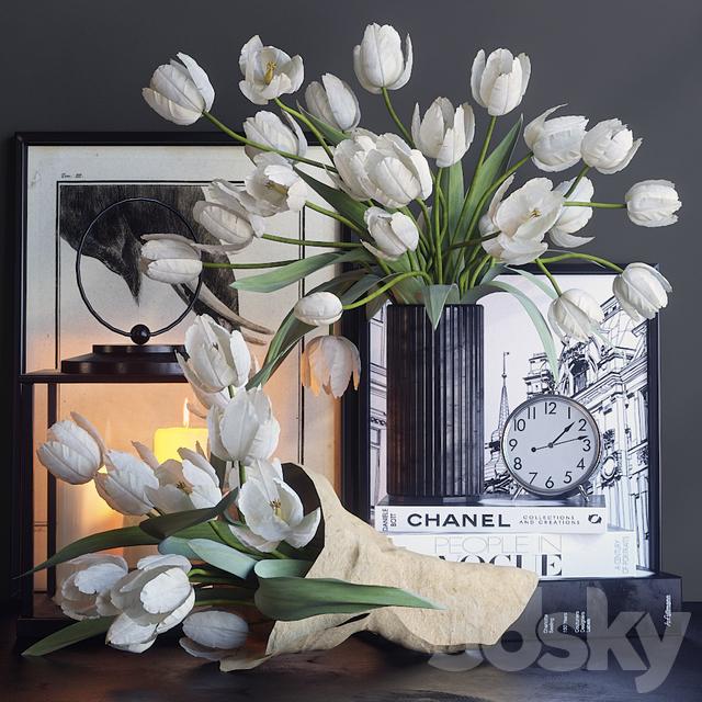 Decorative set with white tulips