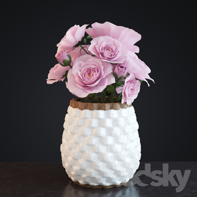 3d Models Bouquet Flowers In Crate And Barrel Rati Vase
