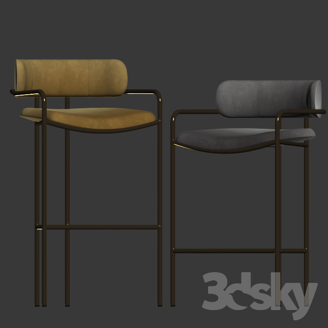 3d Models Chair Lenox Velvet Bar And Counter Stools