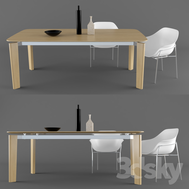 3d models table chair b b italia oskar table. Black Bedroom Furniture Sets. Home Design Ideas