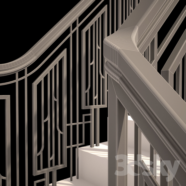 Art Deco Railing: Forged Guard Of The Art-Deco Staircase
