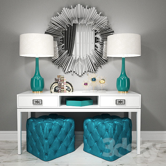 Dressing Table With Puffs, Lamps And Decor