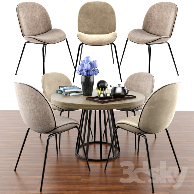 Beetle Dining Chair Set & Parquet
