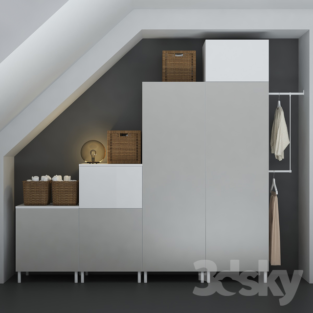 3d models wardrobe display cabinets the combination of ikea platsa designer. Black Bedroom Furniture Sets. Home Design Ideas