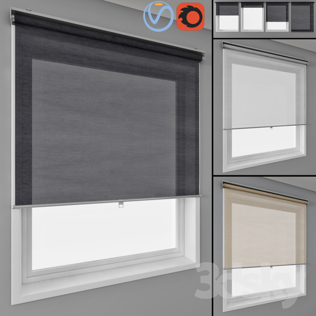 3d Models Curtain Roller Blinds Ikea And Window