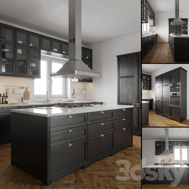 3d models kitchen ikea lerhyttan. Black Bedroom Furniture Sets. Home Design Ideas