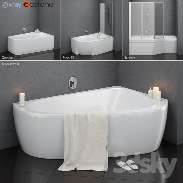 Set of asymmetric baths Ravak set 14 (LoveStory II, Chrome, Rosa 95, BeHappy)