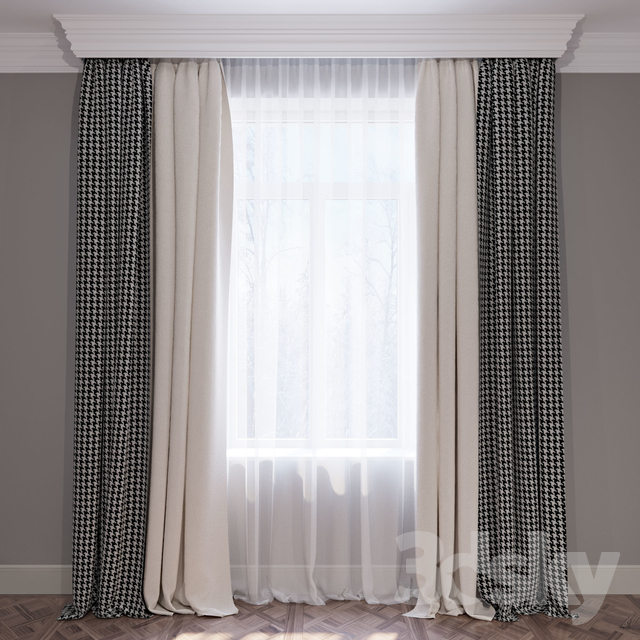 Set Of Curtains Beige And Houndstooth