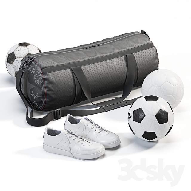 Sports bag with sneakers and balls