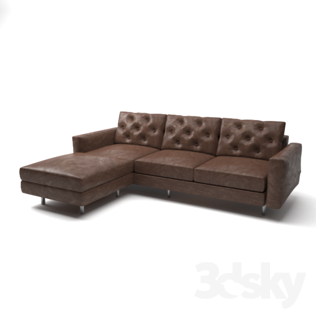 3d Models Sofa Brown Leather L Shaped Sofa