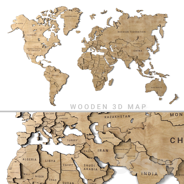 World Map 3d Model.3d Models 3d Panel Wooden Panel World Map