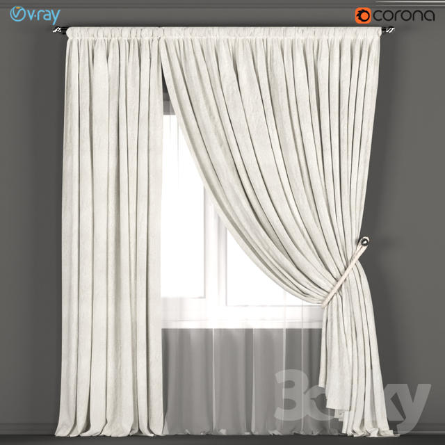 Neutral Color Curtains Made Of Velvet With A Garter On The Rope Tulle