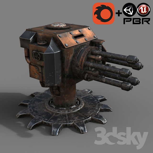 Steampunk Turret Gatling Gun