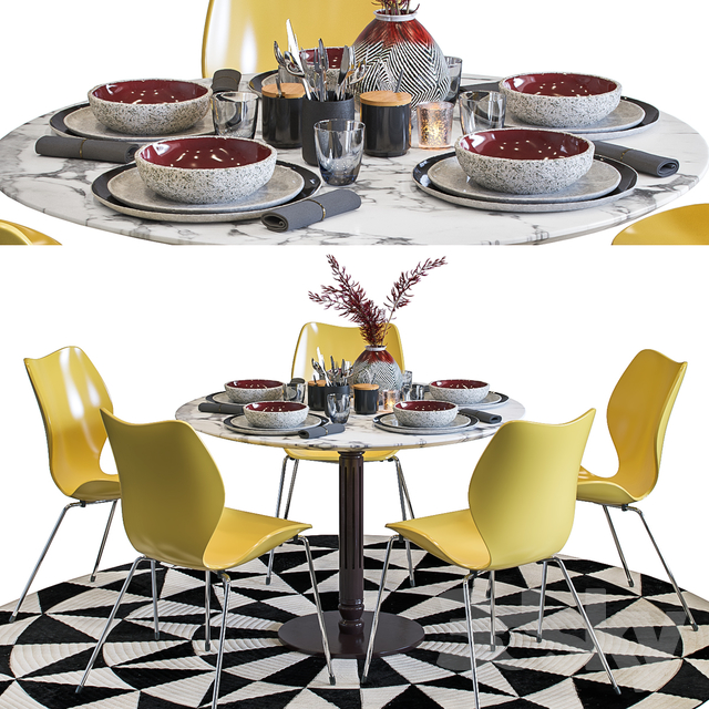 Dining Set with Decoration and City Chair