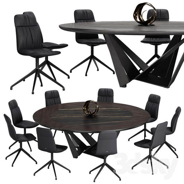 Cattelan italia Kelly chair Skorpio Ker Wood Round table set