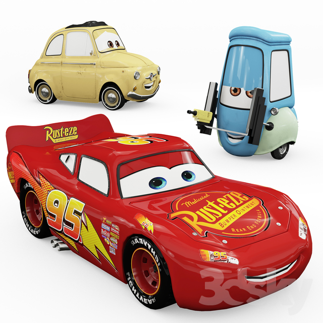 """Toys """"Cars"""" Lightning McQueen, Guido, Luigi"""