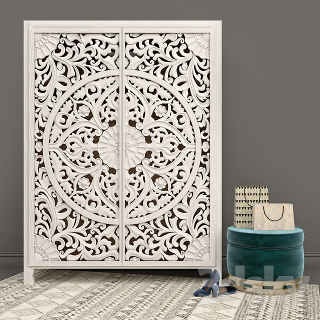 Wondrous 3D Models Wardrobe Display Cabinets Carved Lombok Uwap Interior Chair Design Uwaporg