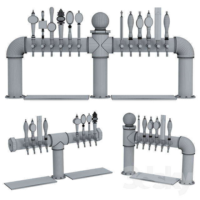 3d models: Restaurant - Industrial Pipe Draft Beer Towers 2