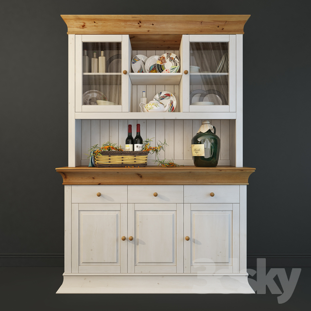 """Cabinet for dishes """"Boston"""". Siver. Cupboard."""