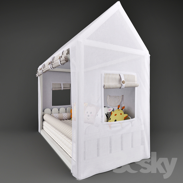 3d models: Bed - Bed - house Casinha Montessorian and canopy