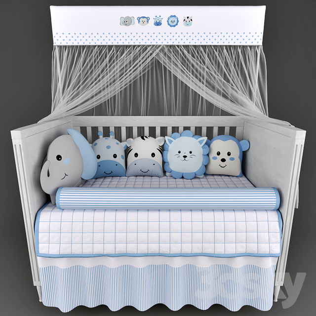 Cots Mon Tresor and underwear in the crib Friends Safari Blue