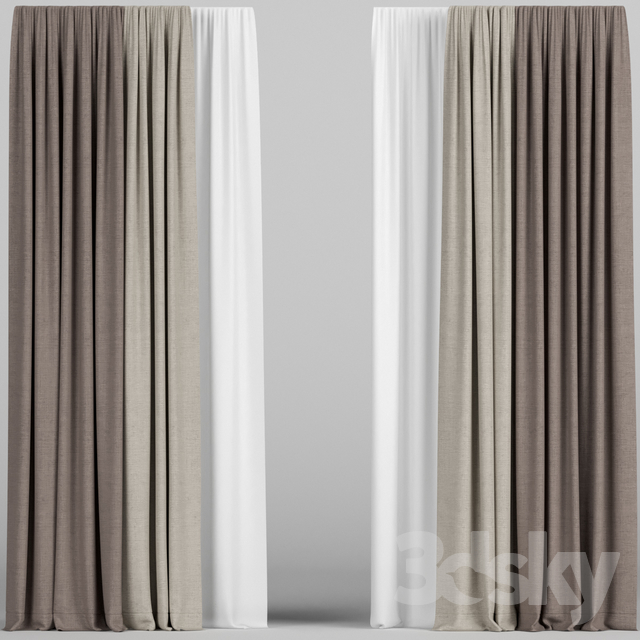 Curtains in two colors with tulle.