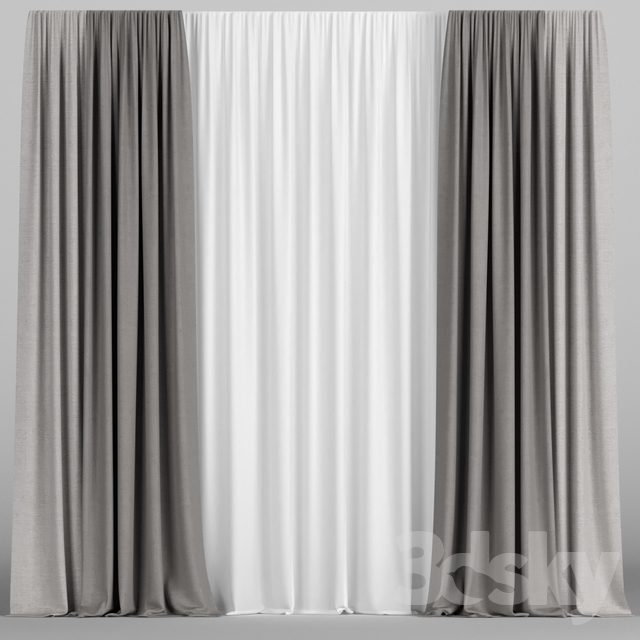 Brown curtains with tulle.