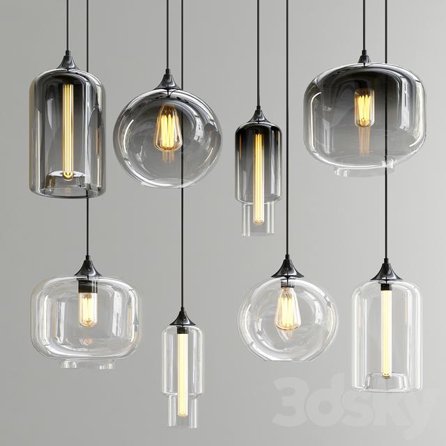 Smoky & Clear Glass Shade Pendant Lights