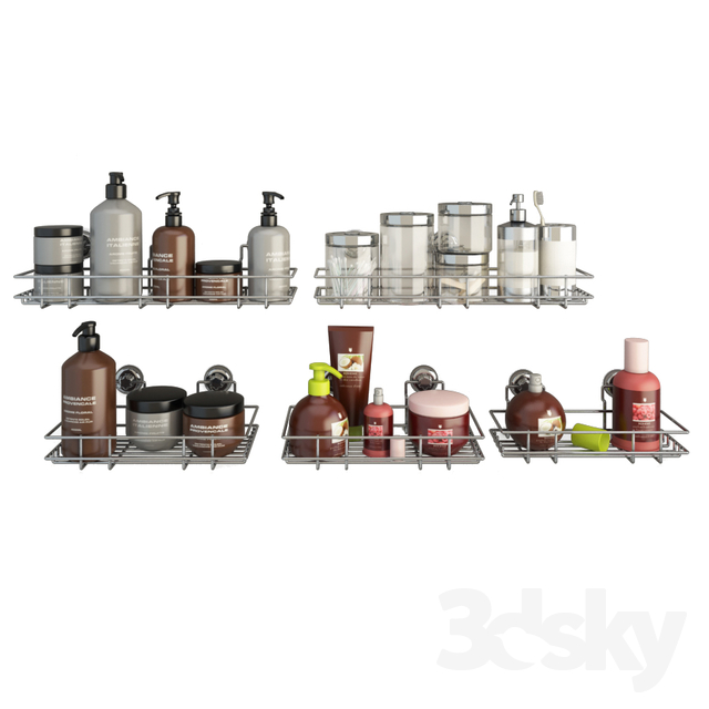 Bathroom Products and Metallic Shelves
